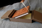 custom cloth covered clamshell box for book with antique hardware latch open 3