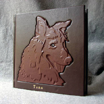 custom leather album for family dog
