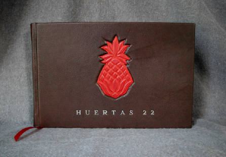 custom brown leather huertas 22 guest book with pineapple