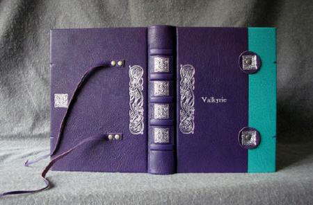custom purple and turquoise leather celtic knot journal