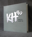 custom light blue leather birthday album with silver foil leaf raised initials and coordinates front cover