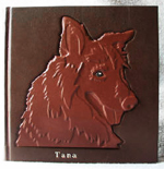 custom leather dog memorial album front cover
