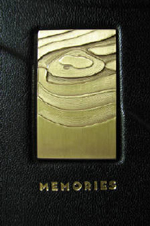 custom black leather gold course guest book front metal plaque detail