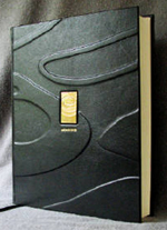 custom black leather gold course guest book front cover