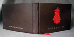 custom dark brown and red leather huertas 22 guest book whole cover