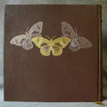 custom dark brown leather maid mother crone and crescent moon journal with butterflies back detail
