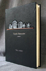 custom black leather book for pewter collector front cover