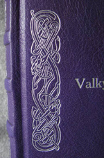 custom purple and turquoise leather celtic knot valkyrie journal with tie closure knot detail