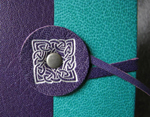custom purple and turquoise leather celtic knot valkyrie journal with tie closure front detail