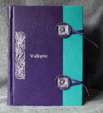custom purple and turquoise leather celtic knot valkyrie journal with tie closure front