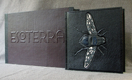 custom book with fly leather handmade esoterra clamshell box