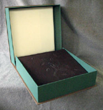 custom dark brown leather crane album with moon clamshell box with leaves open with book