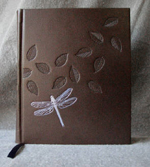 dark brown leather dragonfly and leaves journal front