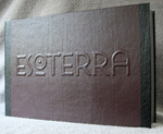 custom book with fly leather handmade esoterra clamshell box front