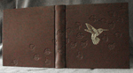 custom dark brown leather gold hummingbird album with leaves whole cover