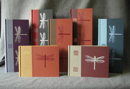 custom cloth two tone dragonfly and celtic knot arts and crafts journals