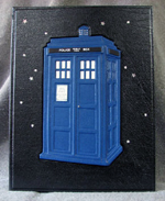 custom leather TARDIS box front