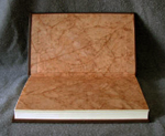 custom leather supernatural fan fiction binding with devils trap batik endpapers