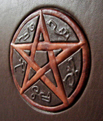 custom leather supernatural fan fiction binding with devils trap detail 2
