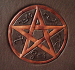 custom leather supernatural fan fiction binding with devils trap detail 1