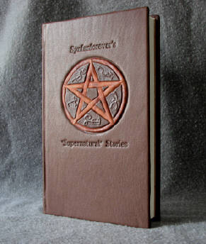 custom leather supernatural fan fiction binding with devil trap