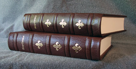 traditional brown goatskin baptism books decorative spines
