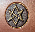 traditional leather aquarian star journal front detail
