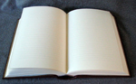 goatskin leather baptism record book open pages
