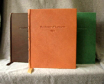 traditional goatskin leather bindings three front covers