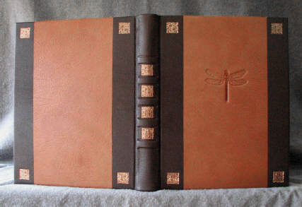 custom two tone goatskin leather arts and crafts sketchbook with dragonfly and celtic knot