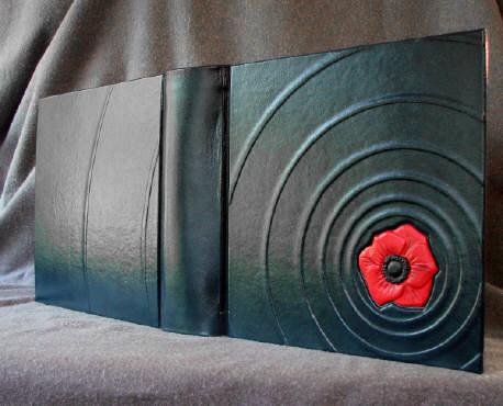 custom leather album poppy blossom on the water